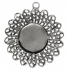 Filigree Pendant Setting 33mm Antique Silver